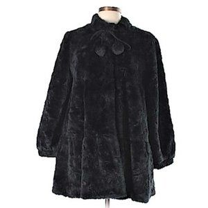 Anthropologie Elevenses Black Faux Fur Swing Coat